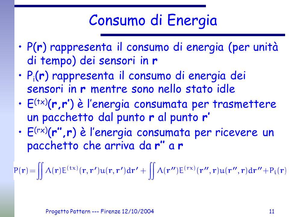 Progetto Pattern --- Firenze 12/10/200411 Consumo di Energia P(r) rappresenta il consumo di energia (per unità di tempo) dei sensori in r P i (r) rappresenta il consumo di energia dei sensori in r mentre sono nello stato idle E (tx) (r,r) è lenergia consumata per trasmettere un pacchetto dal punto r al punto r E (rx) (r,r) è lenergia consumata per ricevere un pacchetto che arriva da r a r