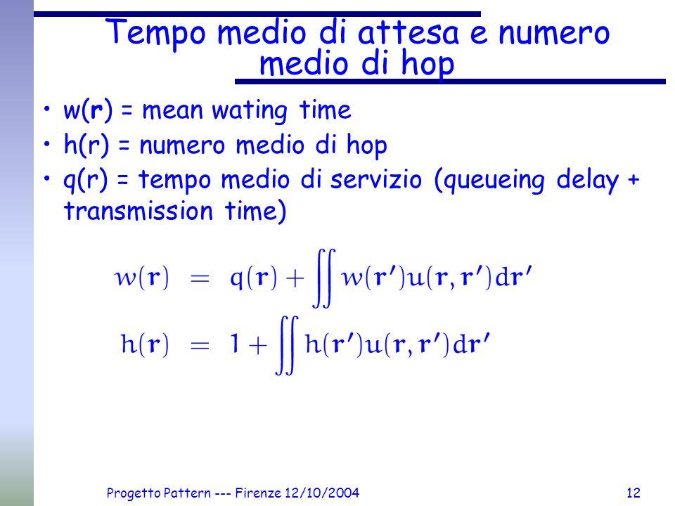 Progetto Pattern --- Firenze 12/10/200412 Tempo medio di attesa e numero medio di hop w(r) = mean wating time h(r) = numero medio di hop q(r) = tempo medio di servizio (queueing delay + transmission time)