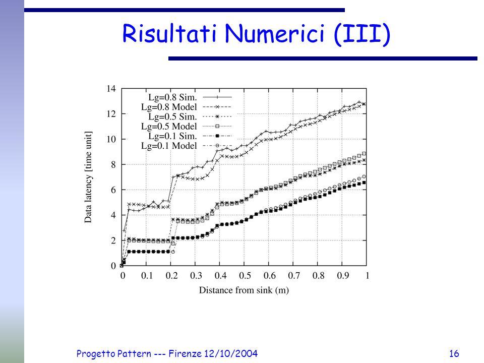 Progetto Pattern --- Firenze 12/10/200416 Risultati Numerici (III)