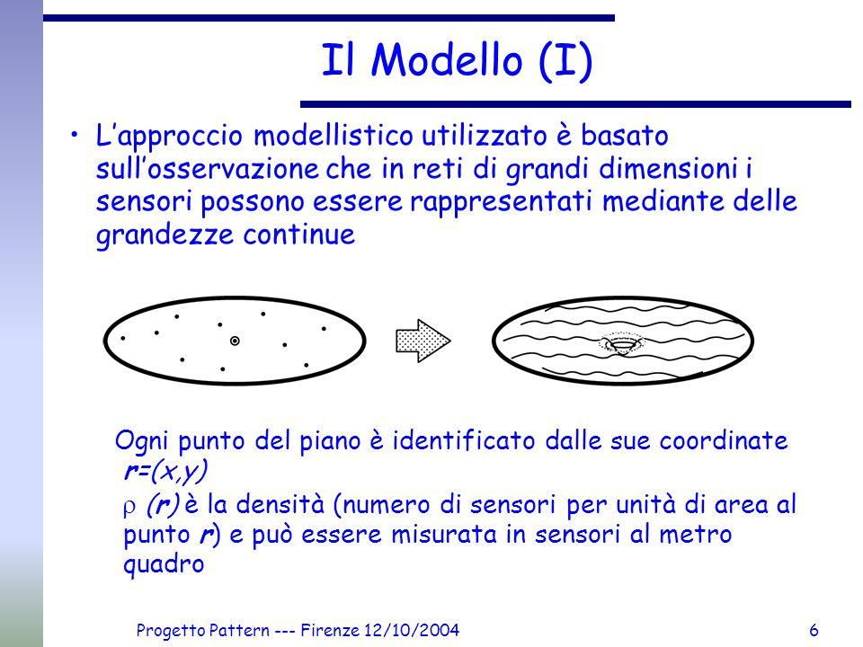 Progetto Pattern --- Firenze 12/10/20046 Il Modello (I) Lapproccio modellistico utilizzato è basato sullosservazione che in reti di grandi dimensioni
