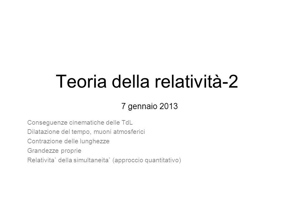 Teoria della relatività-2 7 gennaio 2013 Conseguenze cinematiche delle TdL Dilatazione del tempo, muoni atmosferici Contrazione delle lunghezze Grande