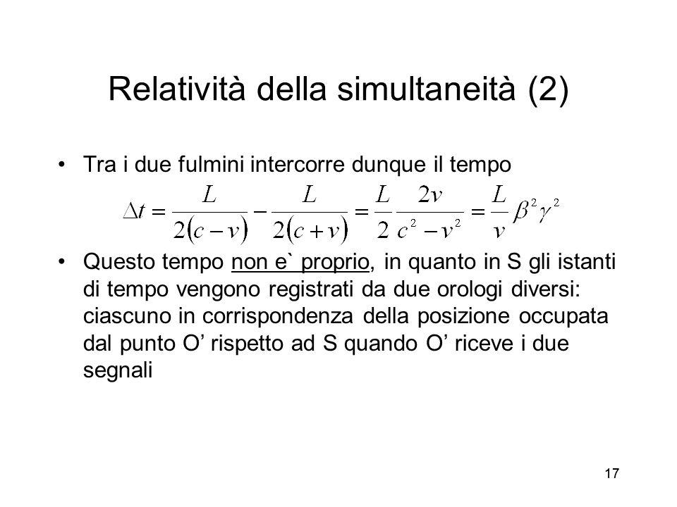 17 Relatività della simultaneità (2) Tra i due fulmini intercorre dunque il tempo Questo tempo non e` proprio, in quanto in S gli istanti di tempo ven