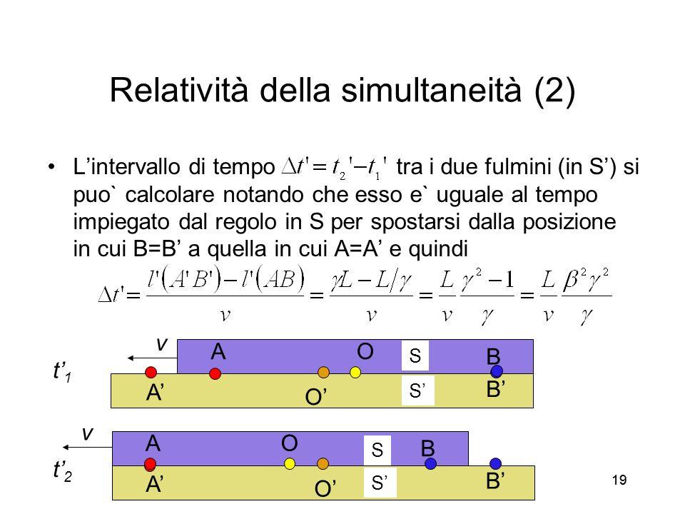19 Relatività della simultaneità (2) Lintervallo di tempo tra i due fulmini (in S) si puo` calcolare notando che esso e` uguale al tempo impiegato dal