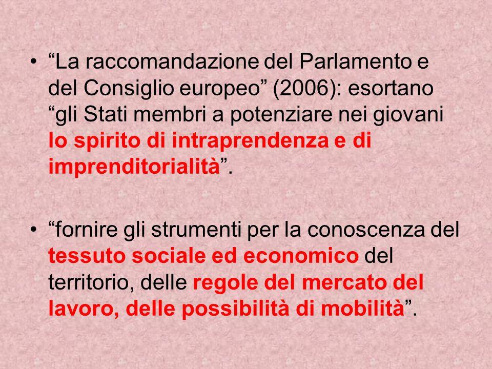 La raccomandazione del Parlamento e del Consiglio europeo (2006): esortano gli Stati membri a potenziare nei giovani lo spirito di intraprendenza e di