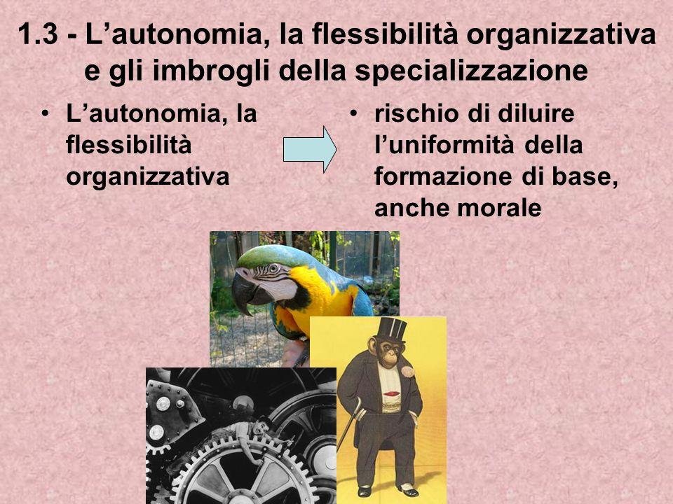 1.3 - Lautonomia, la flessibilità organizzativa e gli imbrogli della specializzazione Lautonomia, la flessibilità organizzativa rischio di diluire luniformità della formazione di base, anche morale