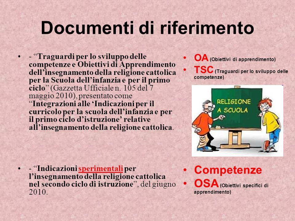 Documenti di riferimento - Traguardi per lo sviluppo delle competenze e Obiettivi di Apprendimento dellinsegnamento della religione cattolica per la Scuola dellinfanzia e per il primo ciclo (Gazzetta Ufficiale n.