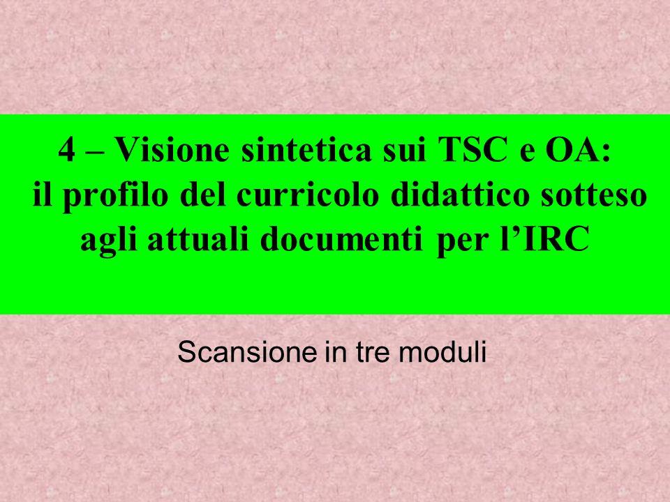 4 – Visione sintetica sui TSC e OA: il profilo del curricolo didattico sotteso agli attuali documenti per lIRC Scansione in tre moduli