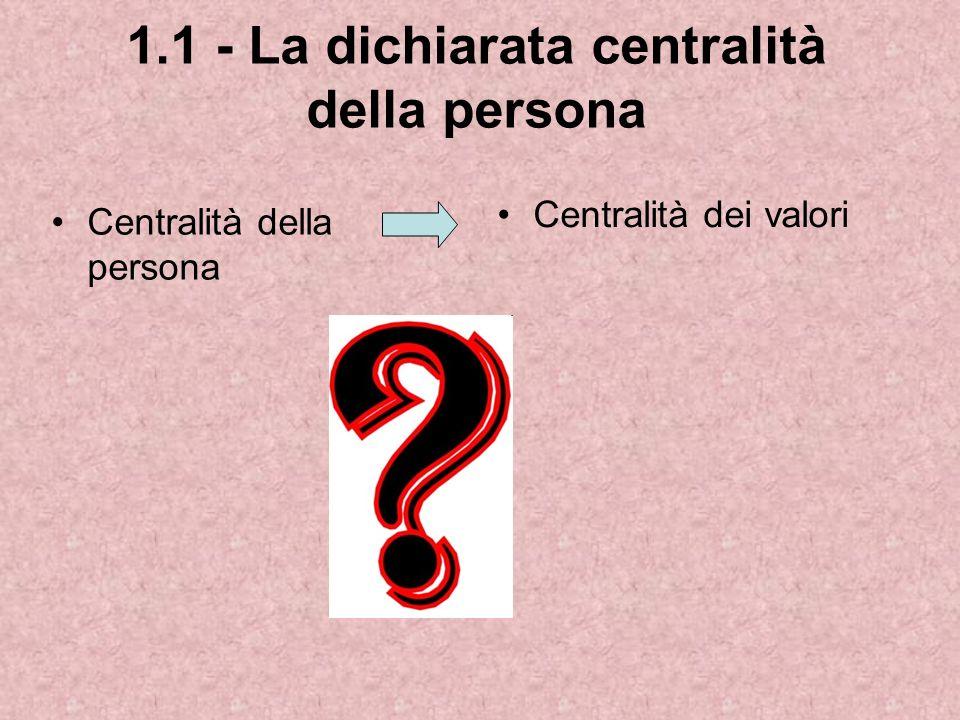 1.1 - La dichiarata centralità della persona Centralità della persona Centralità dei valori