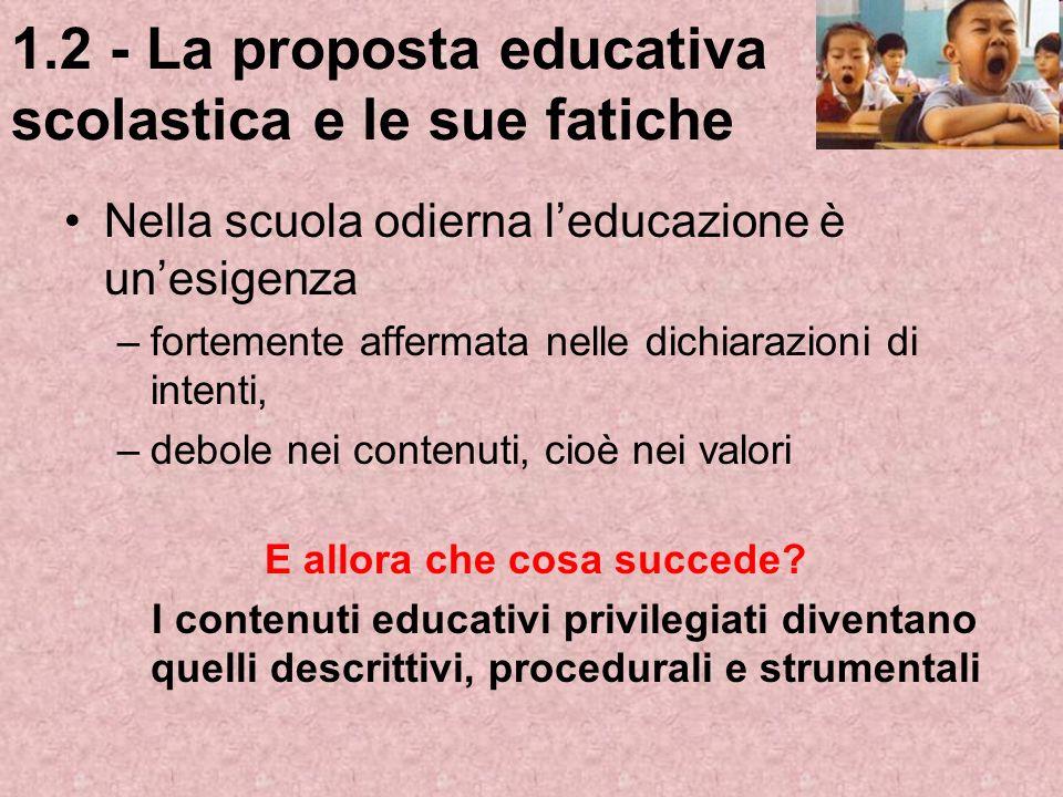 1.2 - La proposta educativa scolastica e le sue fatiche Nella scuola odierna leducazione è unesigenza –fortemente affermata nelle dichiarazioni di int