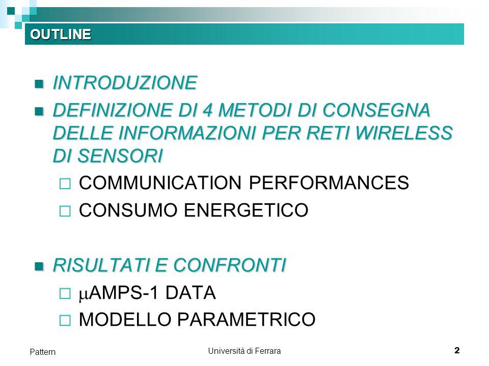 Università di Ferrara2 Pattern OUTLINE INTRODUZIONE INTRODUZIONE DEFINIZIONE DI 4 METODI DI CONSEGNA DELLE INFORMAZIONI PER RETI WIRELESS DI SENSORI DEFINIZIONE DI 4 METODI DI CONSEGNA DELLE INFORMAZIONI PER RETI WIRELESS DI SENSORI COMMUNICATION PERFORMANCES CONSUMO ENERGETICO RISULTATI E CONFRONTI RISULTATI E CONFRONTI AMPS-1 DATA MODELLO PARAMETRICO