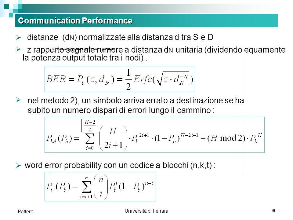 Università di Ferrara6 Pattern Communication Performance distanze (d N ) normalizzate alla distanza d tra S e D z rapporto segnale rumore a distanza d