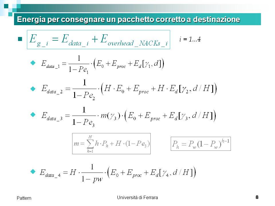 Università di Ferrara9 Pattern Energia Eg_data E g_i Metodi 1), 2) richiedono a S la ritrax di un pacchetto errato, quindi E g_i (i=1, 2, 3) si può esprimere come: m Fattore m include la possibilità di fermare il forwarding di un pacchetto trovato errato ad un nodo intermedio P h P h probabilità di avere un pacchetto errato al salto h E g4 E g4 1/(1-Pw) numero medio di tx per consegnare correttamente un pacchetto al nodo successivo Ogni tx: termine tra parentesi Energia per una singola tx a D Numero medio di tx necessarie per avere un pacchetto corretto a D 1 / (1-Pe) x