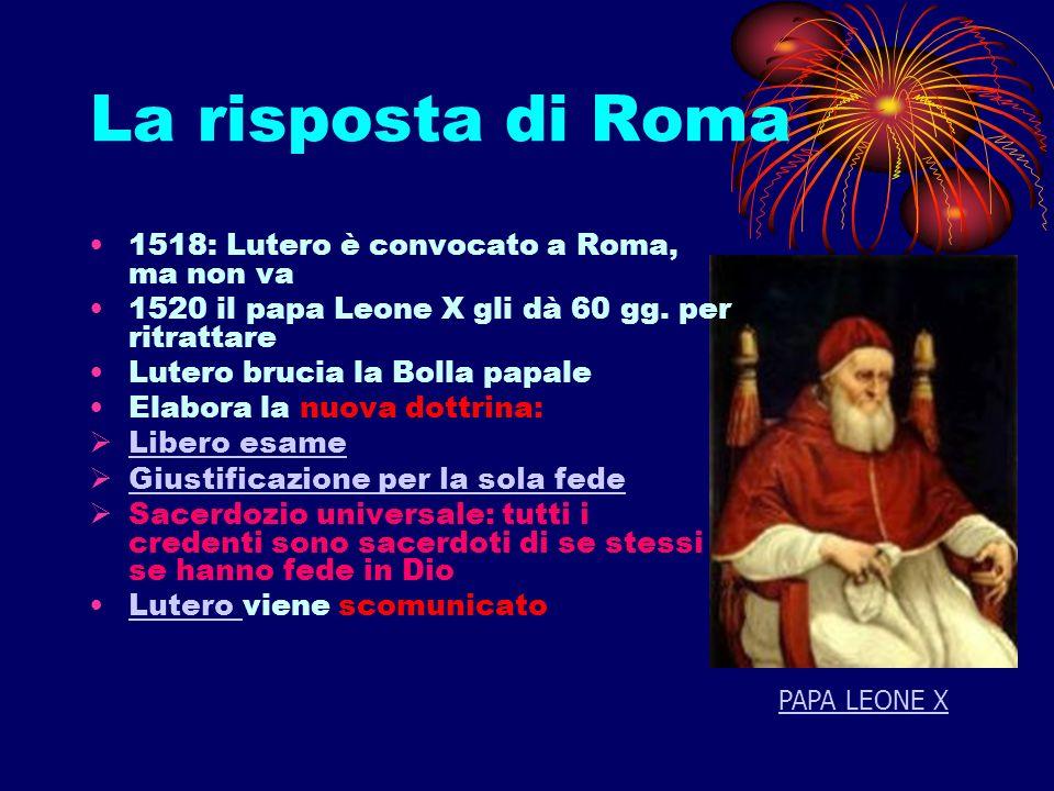 La risposta di Roma 1518: Lutero è convocato a Roma, ma non va 1520 il papa Leone X gli dà 60 gg. per ritrattare Lutero brucia la Bolla papale Elabora
