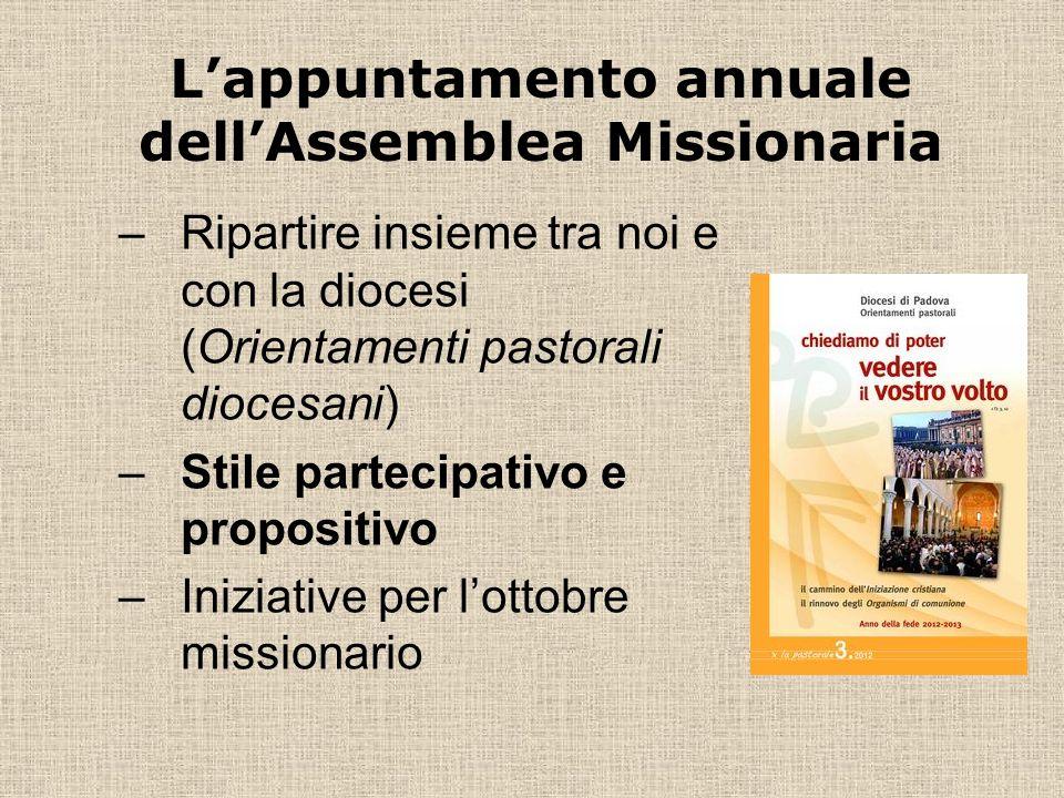 –Ripartire insieme tra noi e con la diocesi (Orientamenti pastorali diocesani) –Stile partecipativo e propositivo –Iniziative per lottobre missionario Lappuntamento annuale dellAssemblea Missionaria