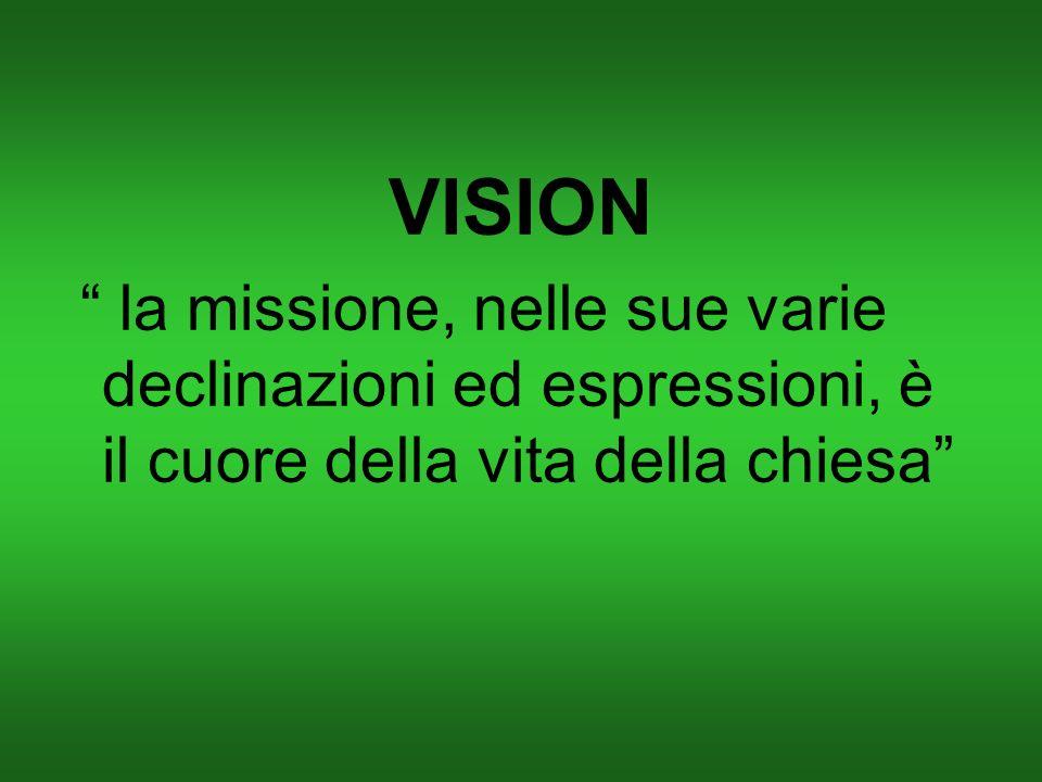 VISION la missione, nelle sue varie declinazioni ed espressioni, è il cuore della vita della chiesa