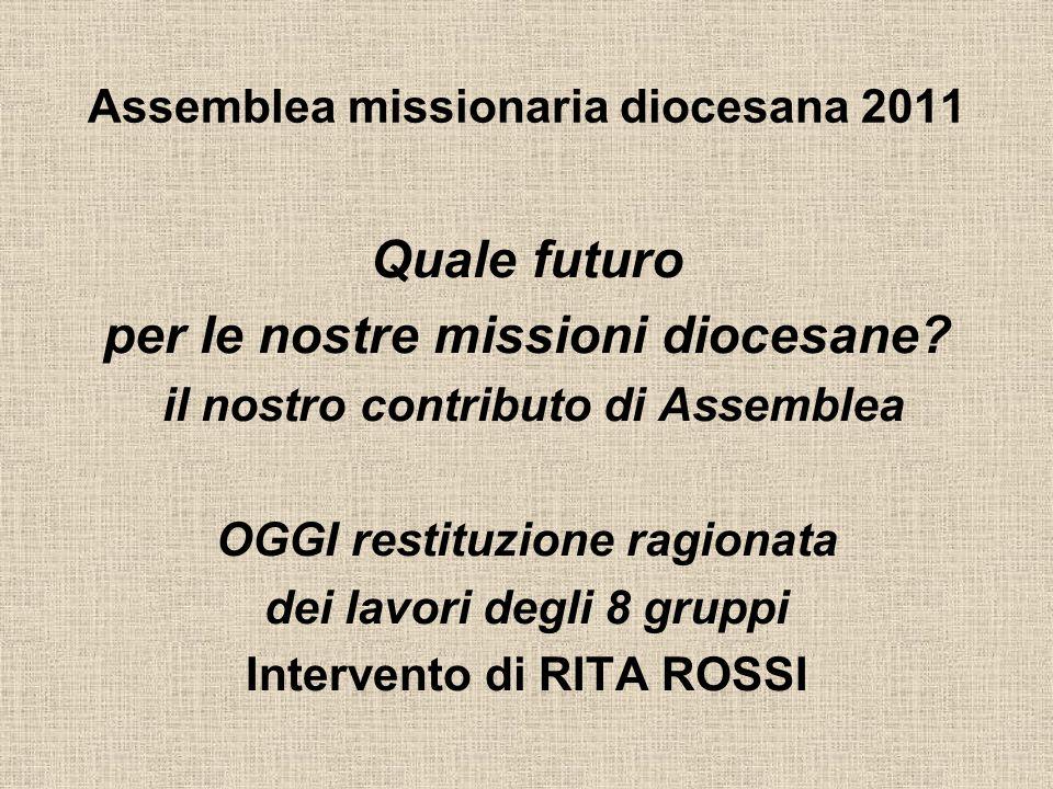 Assemblea missionaria diocesana 2011 Quale futuro per le nostre missioni diocesane.