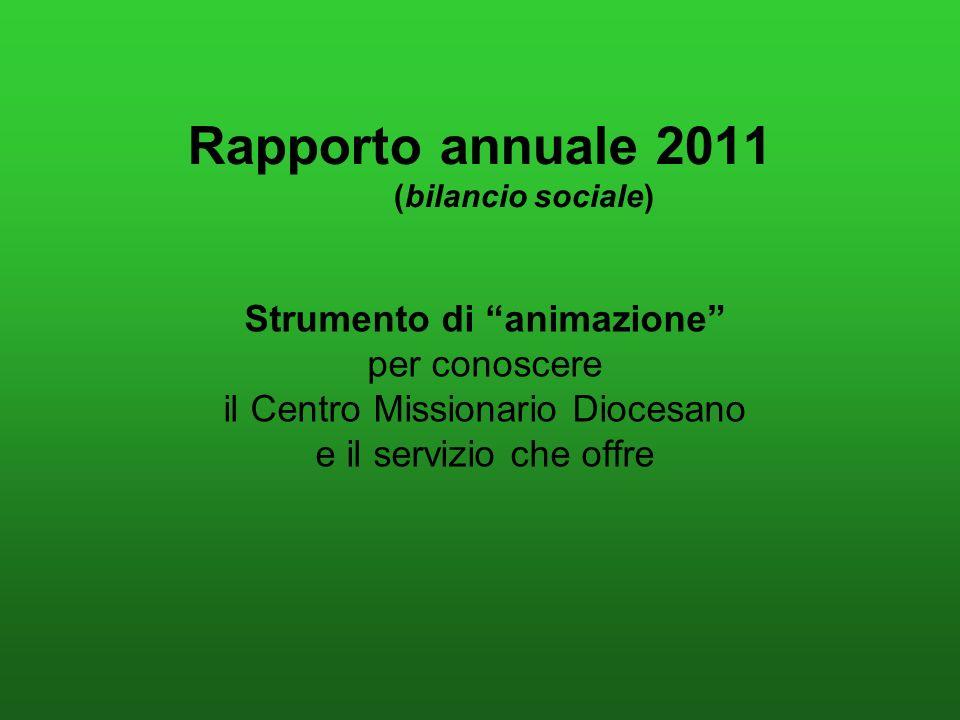 Rapporto annuale 2011 (bilancio sociale) Strumento di animazione per conoscere il Centro Missionario Diocesano e il servizio che offre