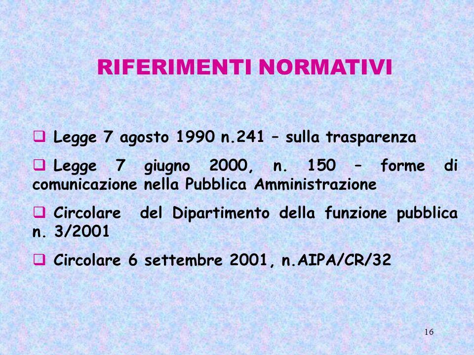 16 RIFERIMENTI NORMATIVI Legge 7 agosto 1990 n.241 – sulla trasparenza Legge 7 giugno 2000, n. 150 – forme di comunicazione nella Pubblica Amministraz