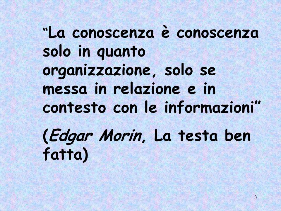 3 La conoscenza è conoscenza solo in quanto organizzazione, solo se messa in relazione e in contesto con le informazioni (Edgar Morin, La testa ben fa