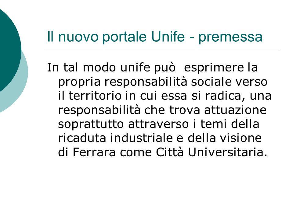 Il nuovo portale Unife - premessa In tal modo unife può esprimere la propria responsabilità sociale verso il territorio in cui essa si radica, una responsabilità che trova attuazione soprattutto attraverso i temi della ricaduta industriale e della visione di Ferrara come Città Universitaria.