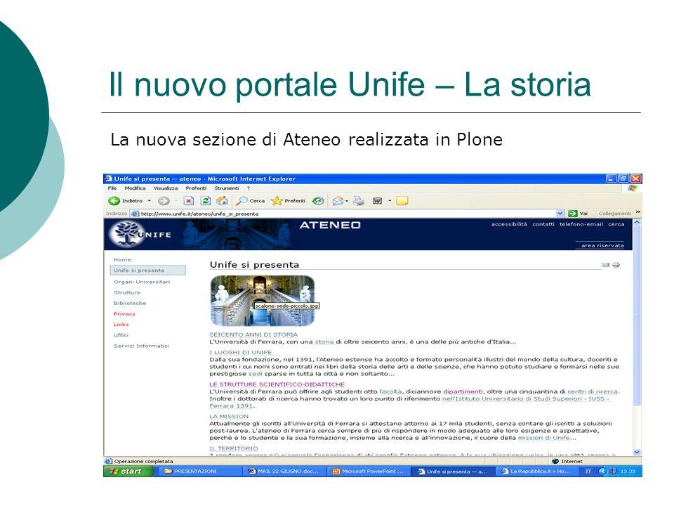 Il nuovo portale Unife – La storia La nuova sezione di Ateneo realizzata in Plone