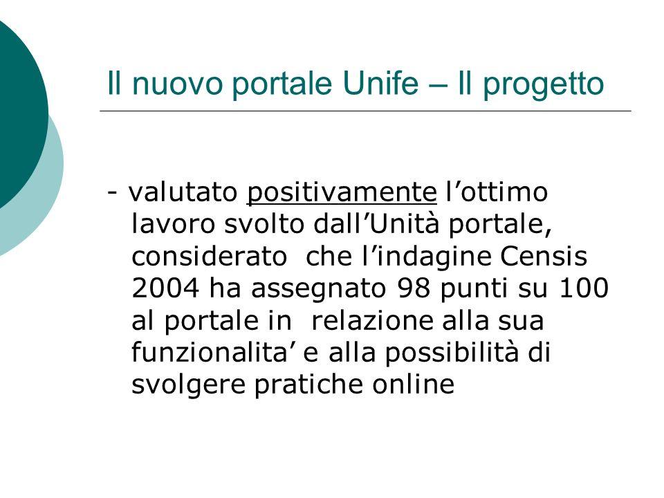 Il nuovo portale Unife – Il progetto - valutato positivamente lottimo lavoro svolto dallUnità portale, considerato che lindagine Censis 2004 ha assegnato 98 punti su 100 al portale in relazione alla sua funzionalita e alla possibilità di svolgere pratiche online