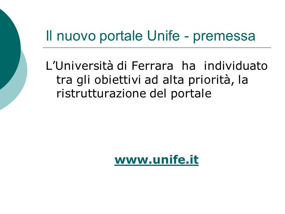 Il nuovo portale Unife - premessa Alcune considerazioni: Il portale web www.unife.it è oggi il principale strumento di comunicazione interna ed esterna dell Universit à di Ferrarawww.unife.it