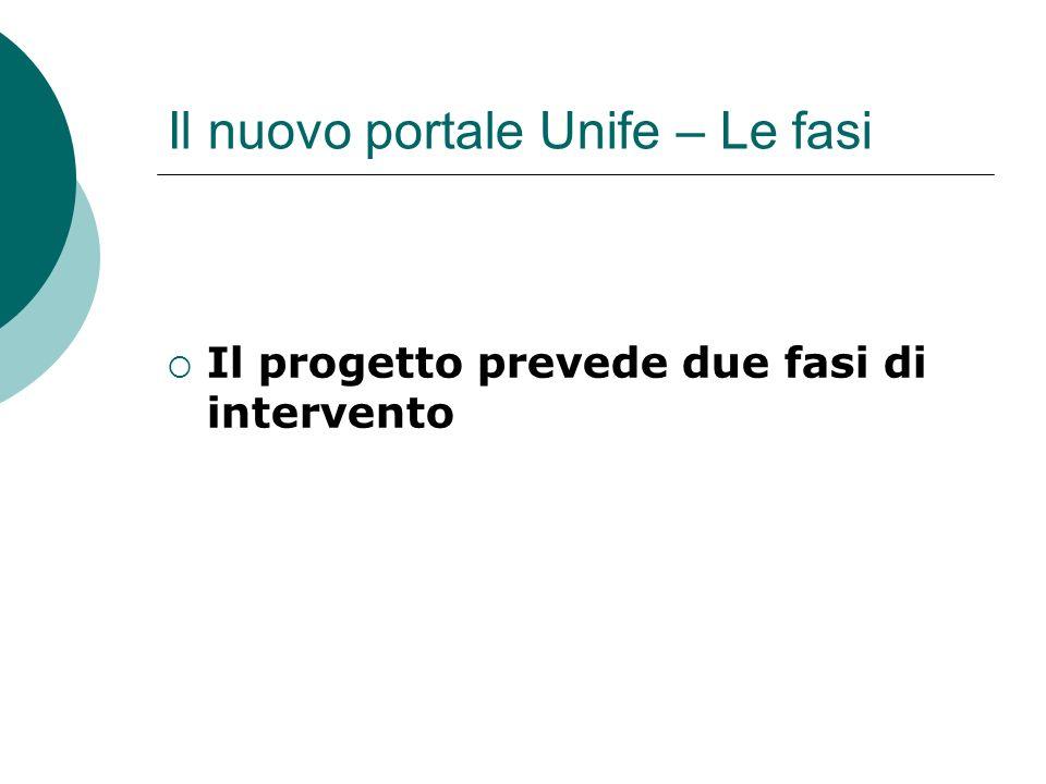 Il nuovo portale Unife – Le fasi Il progetto prevede due fasi di intervento