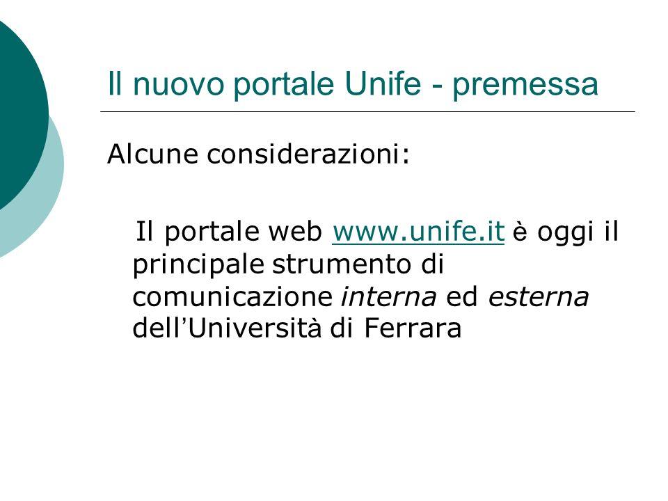 Il nuovo portale Unife - premessa COMUNICAZIONE ESTERNA Chi sono i destinatari?