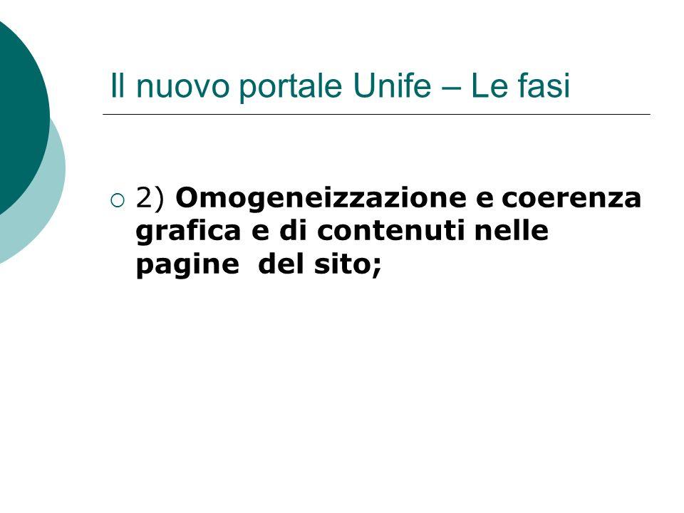 Il nuovo portale Unife – Le fasi 2) Omogeneizzazione e coerenza grafica e di contenuti nelle pagine del sito;
