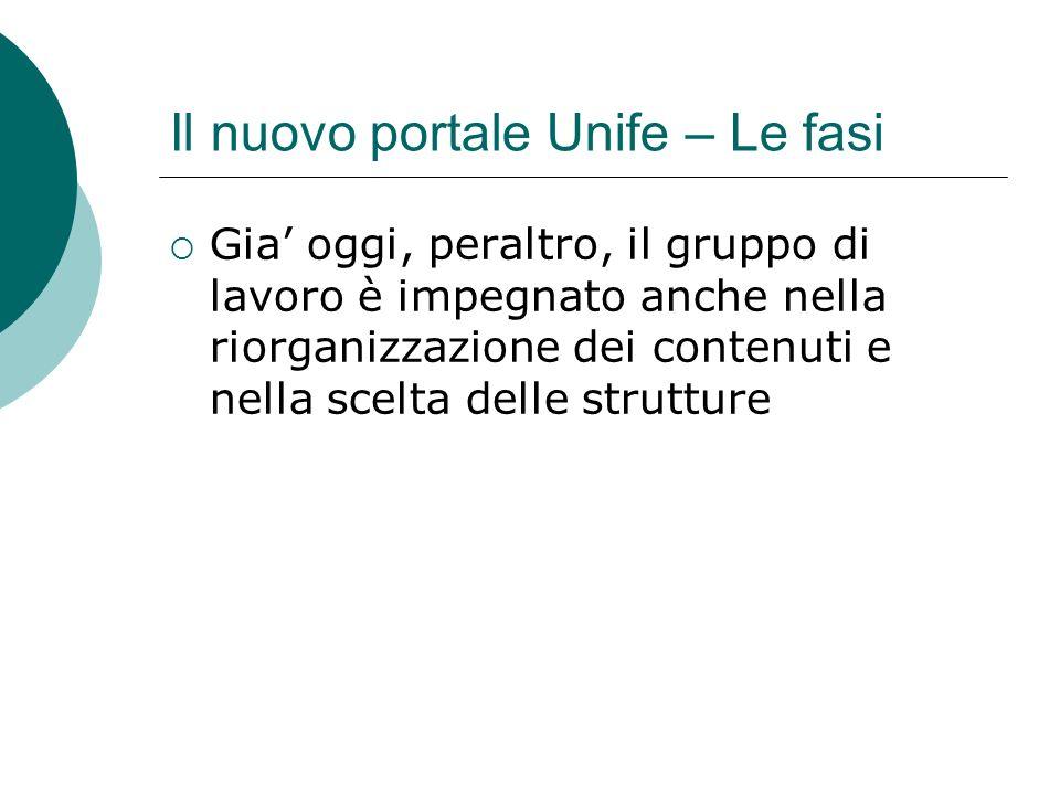 Il nuovo portale Unife – Le fasi Gia oggi, peraltro, il gruppo di lavoro è impegnato anche nella riorganizzazione dei contenuti e nella scelta delle strutture