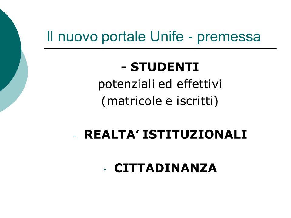 Il nuovo portale Unife - premessa - MEDIA - - ALTRI - (fornitori, altre università)