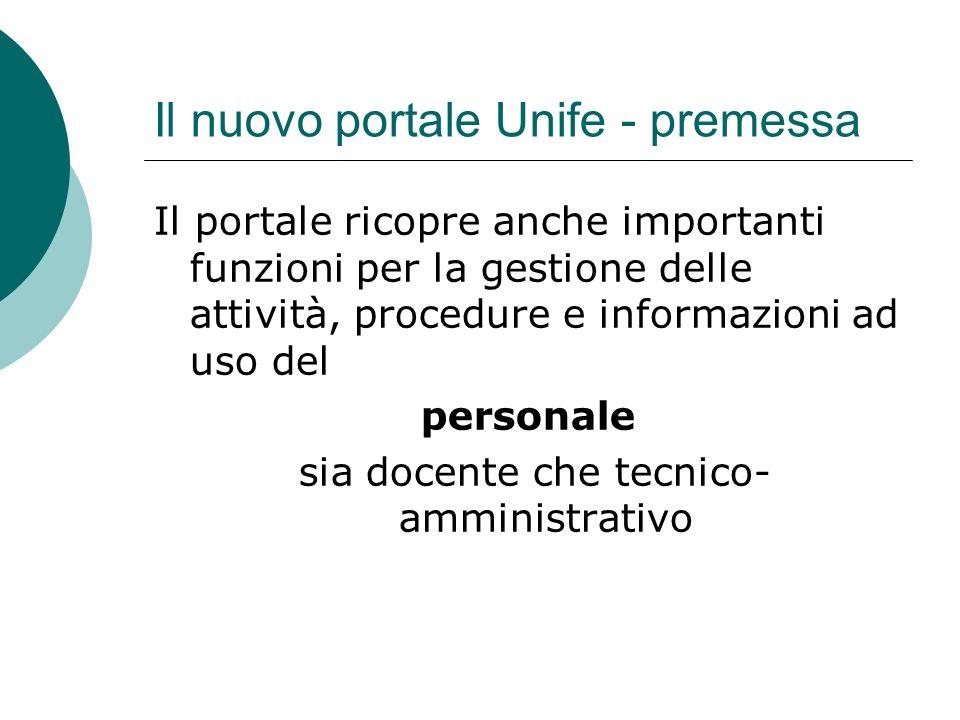 Il nuovo portale Unife - premessa Il portale ricopre anche importanti funzioni per la gestione delle attività, procedure e informazioni ad uso del personale sia docente che tecnico- amministrativo