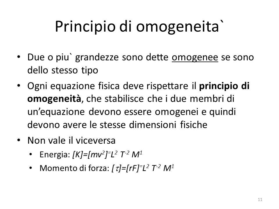 Principio di omogeneita` Due o piu` grandezze sono dette omogenee se sono dello stesso tipo Ogni equazione fisica deve rispettare il principio di omog