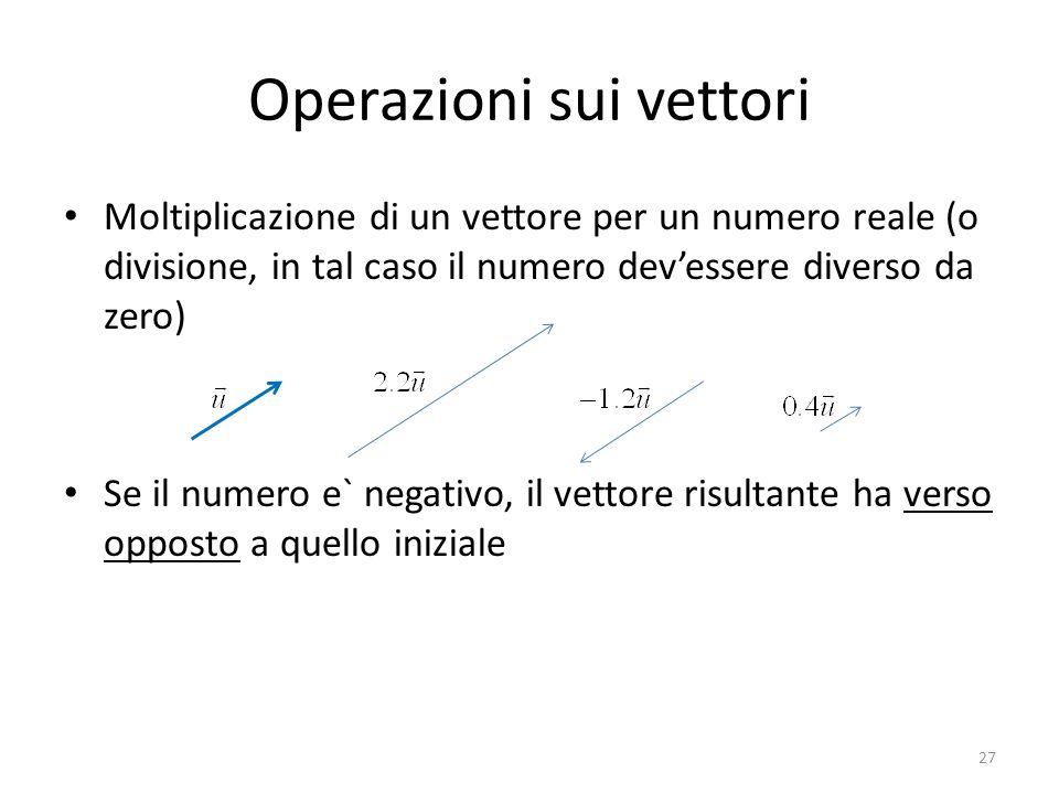 Operazioni sui vettori Moltiplicazione di un vettore per un numero reale (o divisione, in tal caso il numero devessere diverso da zero) Se il numero e