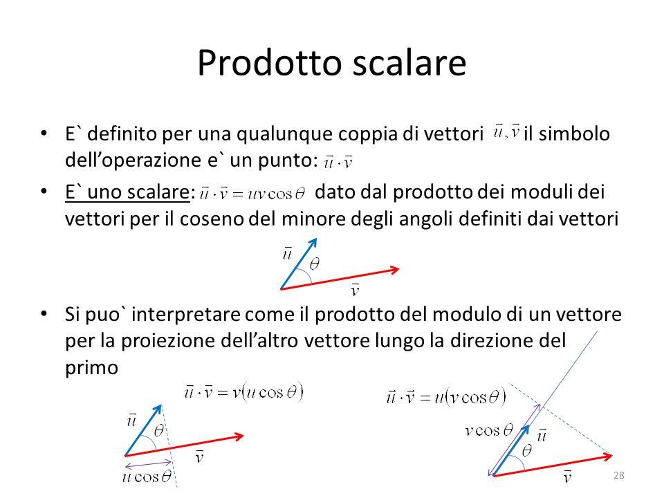 Prodotto scalare E` definito per una qualunque coppia di vettori il simbolo delloperazione e` un punto: E` uno scalare: dato dal prodotto dei moduli d