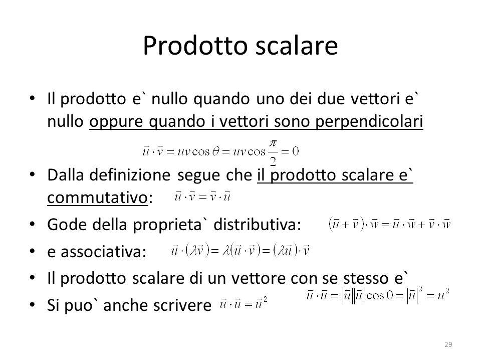 Prodotto scalare Il prodotto e` nullo quando uno dei due vettori e` nullo oppure quando i vettori sono perpendicolari Dalla definizione segue che il p
