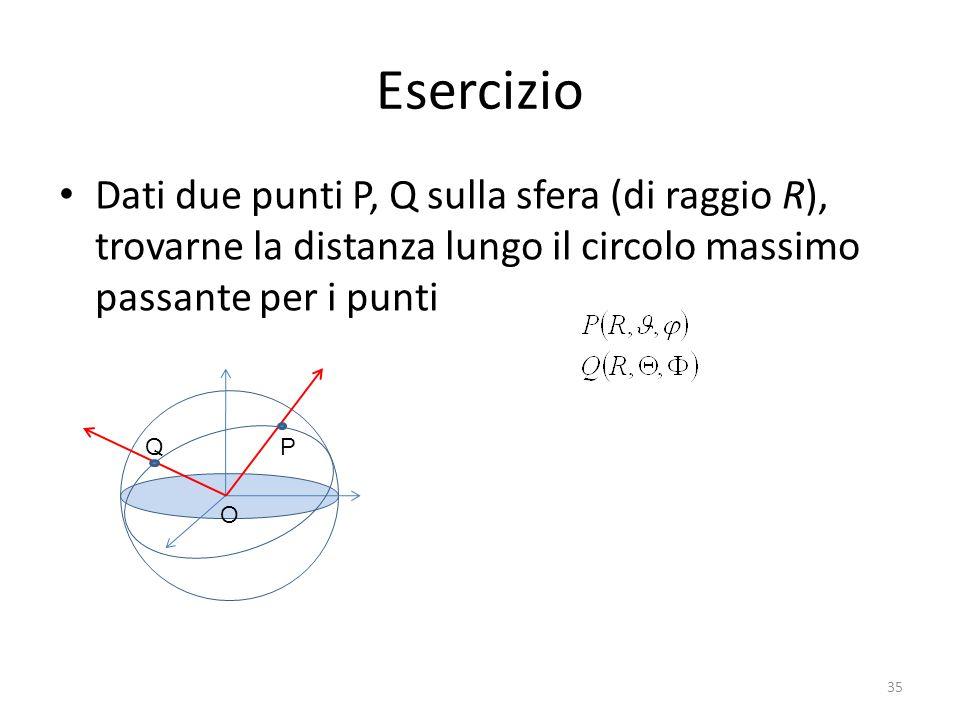 Esercizio Dati due punti P, Q sulla sfera (di raggio R), trovarne la distanza lungo il circolo massimo passante per i punti P O Q 35
