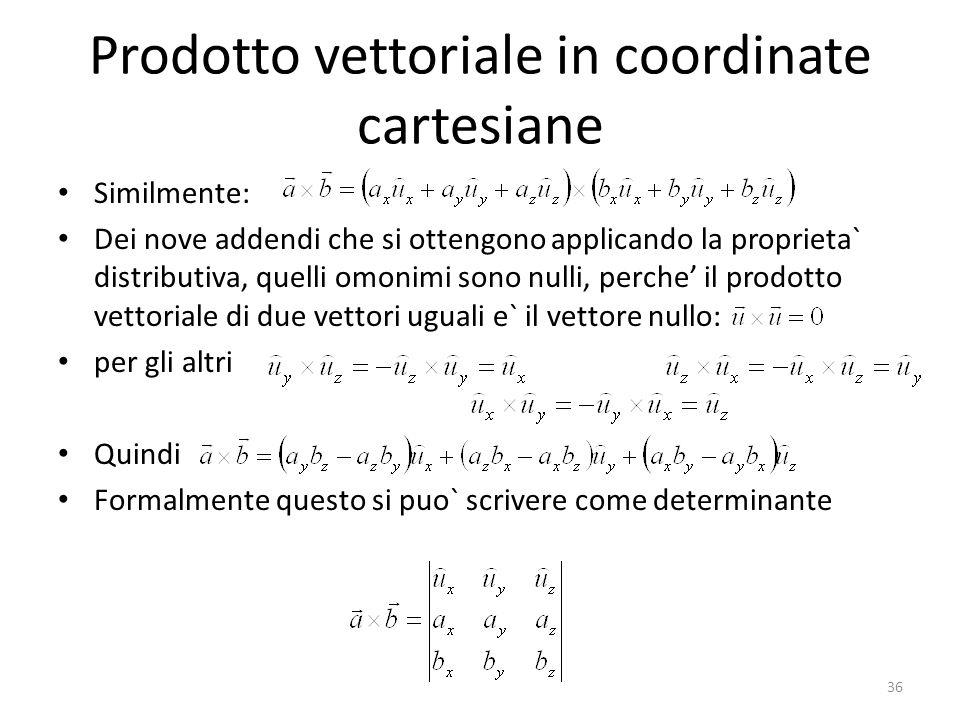 Prodotto vettoriale in coordinate cartesiane Similmente: Dei nove addendi che si ottengono applicando la proprieta` distributiva, quelli omonimi sono