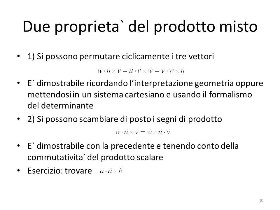 Due proprieta` del prodotto misto 1) Si possono permutare ciclicamente i tre vettori E` dimostrabile ricordando linterpretazione geometria oppure mett