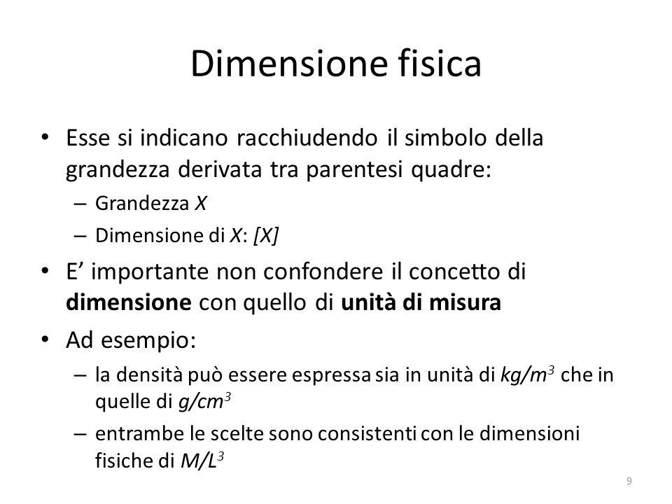 Dimensione fisica Esse si indicano racchiudendo il simbolo della grandezza derivata tra parentesi quadre: – Grandezza X – Dimensione di X: [X] E impor