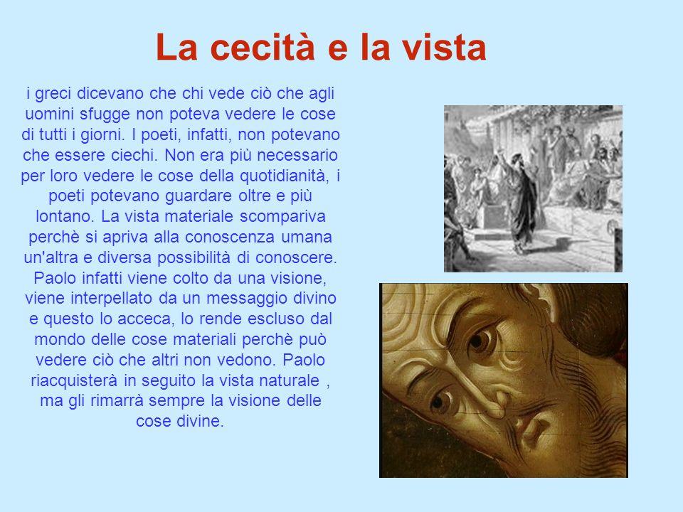 La cecità e la vista i greci dicevano che chi vede ciò che agli uomini sfugge non poteva vedere le cose di tutti i giorni. I poeti, infatti, non potev