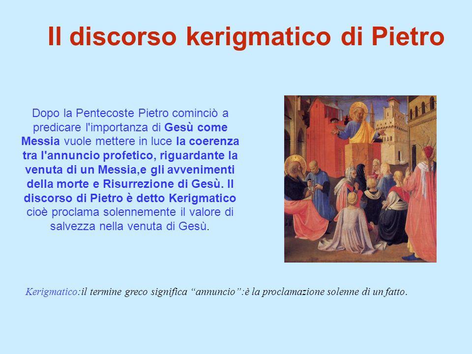 Dopo la Pentecoste Pietro cominciò a predicare l'importanza di Gesù come Messia vuole mettere in luce la coerenza tra l'annuncio profetico, riguardant
