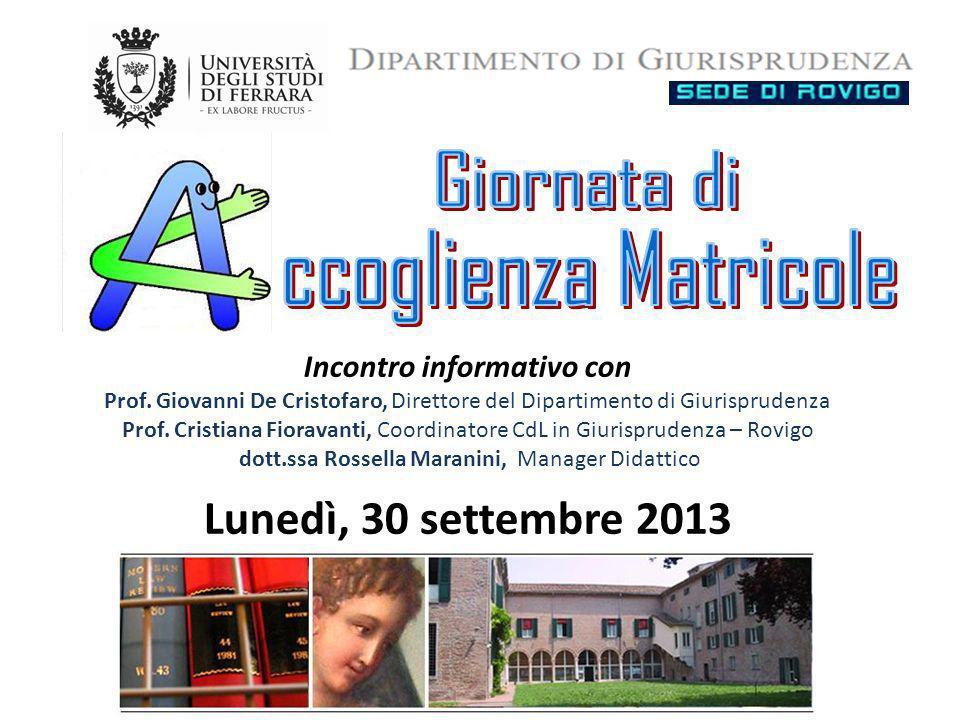 Offerta formativa Laurea Magistrale in Giurisprudenza – 5 anni – 300 crediti formativi Coordinatore del corso: Prof.