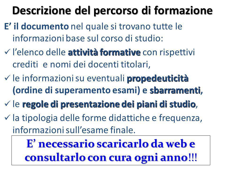 Descrizione del percorso di formazione E il documento nel quale si trovano tutte le informazioni base sul corso di studio: attività formative lelenco