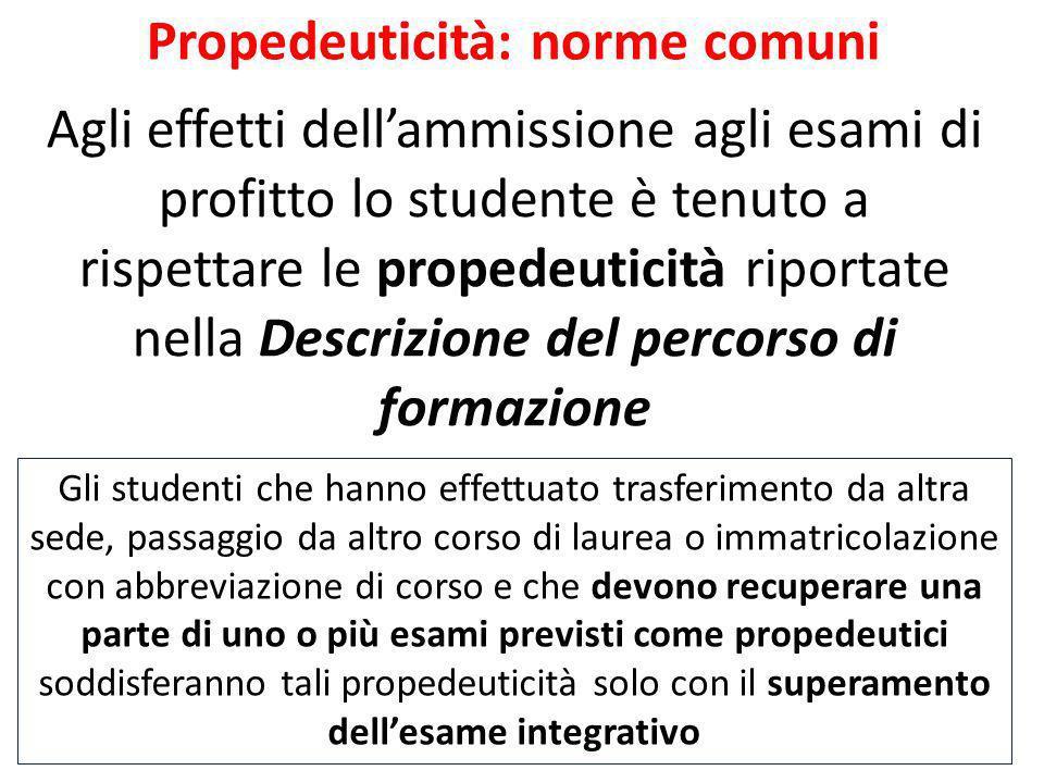 Propedeuticità: norme comuni Agli effetti dellammissione agli esami di profitto lo studente è tenuto a rispettare le propedeuticità riportate nella De