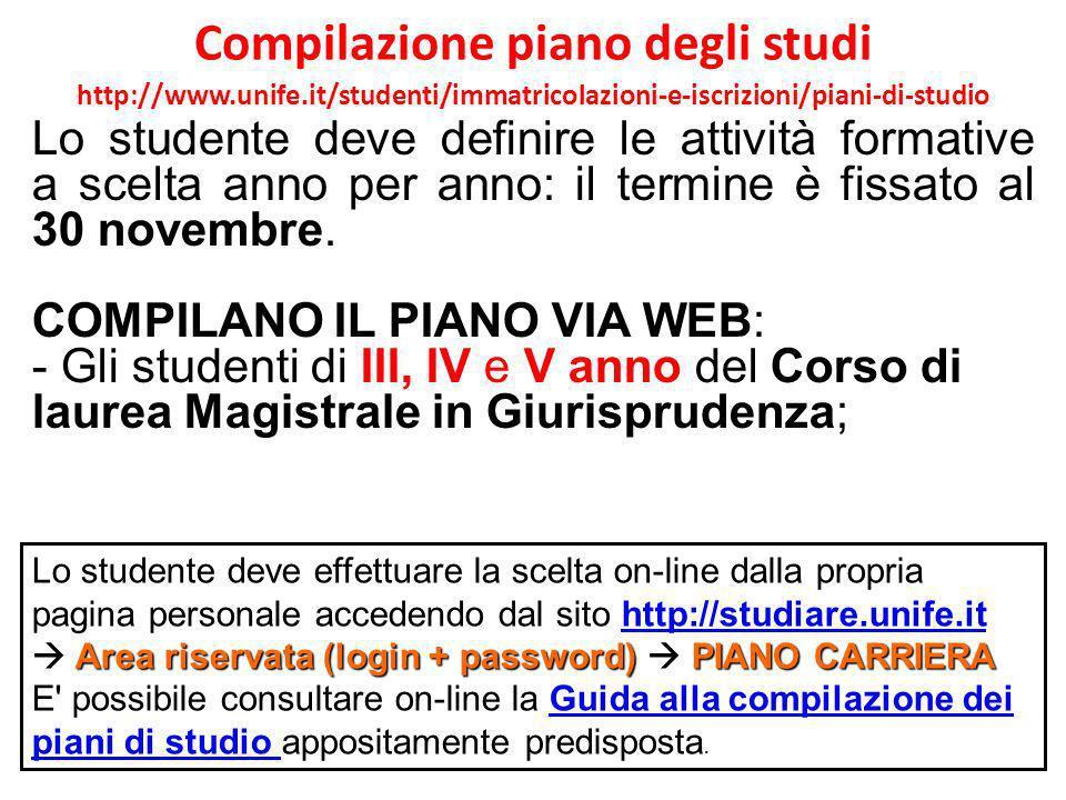 Compilazione piano degli studi http://www.unife.it/studenti/immatricolazioni-e-iscrizioni/piani-di-studio http://studiare.unife.it http://studiare.uni