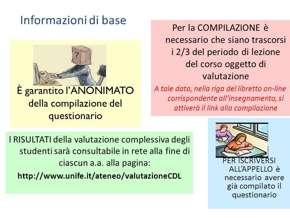 È garantito lANONIMATO della compilazione del questionario l RISULTATI della valutazione complessiva degli studenti sarà consultabile in rete alla fin