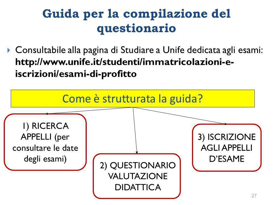 1) RICERCA APPELLI (per consultare le date degli esami) 2) QUESTIONARIO VALUTAZIONE DIDATTICA 3) ISCRIZIONE AGLI APPELLI DESAME Come è strutturata la