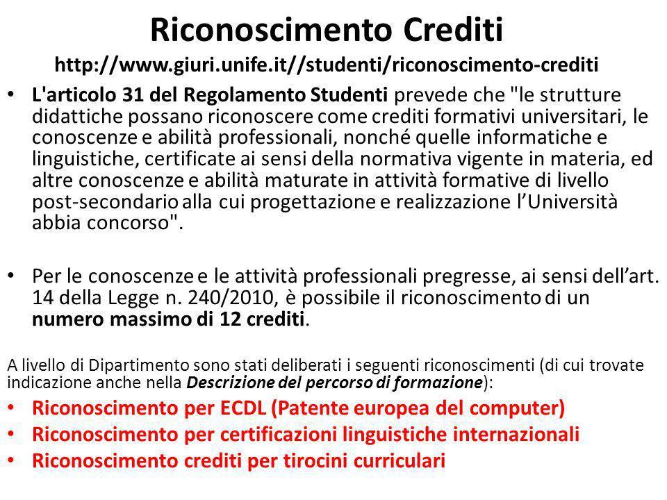 Riconoscimento Crediti http://www.giuri.unife.it//studenti/riconoscimento-crediti L'articolo 31 del Regolamento Studenti prevede che